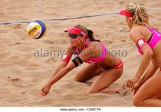 Anouk Verge-Depre of Switzerland competes at the 2012 FIVB Beach Volleyball SWATCH Junior World Championships. - Stock Image