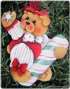 HP TEDDY BEAR Peppermint Stick ORNAMENT #Handpainted