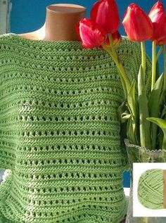 Knitting Patterns Techniques Sweater in the hole pattern # Strickanleitung Size: knitting instructions . T-shirt Au Crochet, Pull Crochet, Crochet Blouse, Crochet Stitches, Free Crochet, Poncho Knitting Patterns, Knitted Poncho, Knitting Yarn, Free Knitting