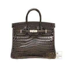 8b60f66e35 Hermes Birkin bag 25 Gris fonce Niloticus crocodile skin Silver hardware