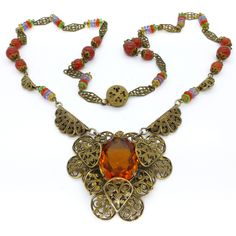 Vintage Czech Art Deco Ornate Filigree Carnelian & Rainbow Glass Necklace | Clarice Jewellery