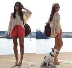 love the color shorts baggy shirt and backpack purse