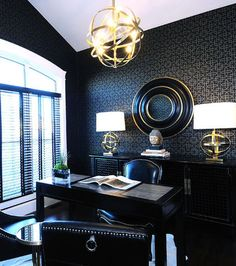 contemporary home office by Atmosphere Interior Design Inc. Black + Gold