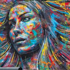Colorful portraits on walls