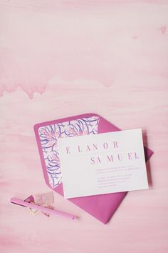 My excitement hits a high whenever Pantone releases a new color of the year. For it's all about Radiant Orchid and this inspiration is showcasing just how to incorporate that pret. Wedding Stationery Inspiration, Wedding Stationary, Wedding Invitations, Wedding Paper, Wedding Cards, Wedding Prints, Watercolor Invitations, Stationery Design, Color Of The Year