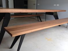 Southside dining table with Messmate top and black metal legs and matching bench seat #bomboracustomfurniture