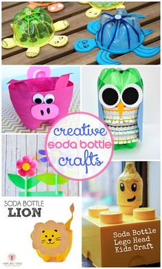 Soda Bottle Craft Ideas for Kids to Make (Find an owl, turtle, minion, pig, lion, lego man, and more fun ideas!) | CraftyMorning.com