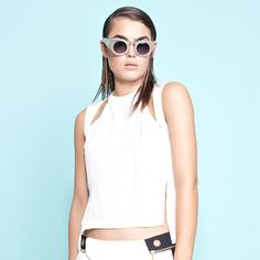 Not So Basic Cut Out Top - White.  Questions? Email: admin@shakuhachi.net
