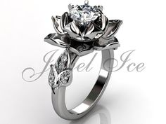 14k white gold diamond unusual unique lotus flower by Jewelice