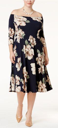 Trendy Plus Size Off-The-Shoulder Midi Dress