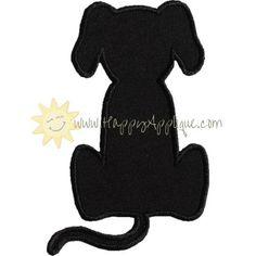 Sitting Dog Silhouette Applique Design