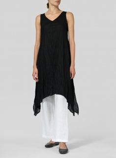 5e8c7092460b3 VIVID LINEN. Black Linen Sleeveless Crumple Effect Long Dress ...