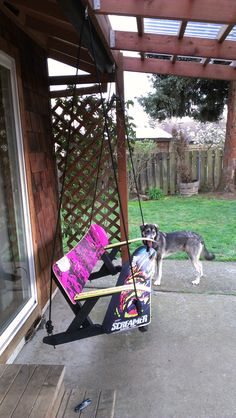 Already did the skateboard swing and this snowboard porch swing will for sure be our next project since we've already got 2 old boards hanging on the wall. #snowboardswing