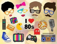 Instant Download 80's Photo Booth Props 1980s by OneStopDigital
