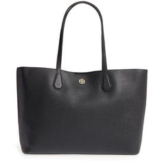 Women's Tory Burch 'Perry' Leather Tote (17.880 RUB) ❤ liked on Polyvore featuring bags, handbags, tote bags, tote handbags, genuine leather tote bag, structured leather tote, leather tote purse and tory burch purse