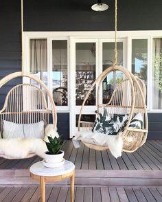 Hanging chairs on beautiful patio