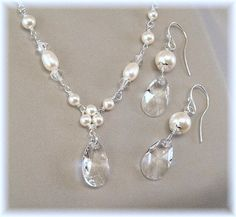 White Pearl and Crystal Necklace and Earring by BridalDiamantes
