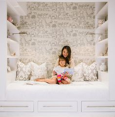 My favorite room in the house? No question...Maya's bedroom! With lots of built-ins and a whimsical wallpaper pattern...it's what I wish my bedroom was like growing up. #kathykuohome