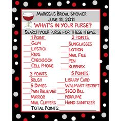 Items similar to 24 Bridal Shower Game Cards - What's In Your Purse Game Cards - Wine Theme - Wine Bridal Shower - WIne Wedding Shower on Etsy My Bridal Shower, Bridal Shower Games, Bridal Showers, Bridal Games, Mary Kay, Baby Showers, Purse Game, Whats In Your Purse, Thirty One Gifts