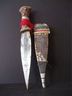 AFAR TRIBAL DAGGER , old knife from Ethiopia. Wood handle with stud detail, leather sheath. Eritrea, Knife, Africains, weapon. Antique by Timbuktugallery on Etsy