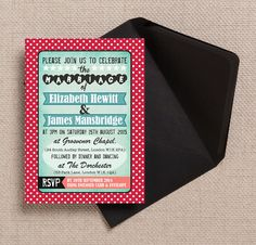 Retro Rockabilly Motown Turquoise and Red Wedding Invitation & RSVP with envelopes