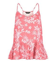 Pink Floral Tropical Print Peplum Cami  | New Look