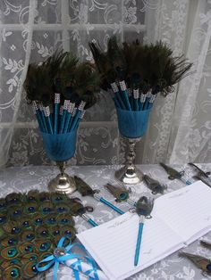 """{Want one for myself}Peacock Feather Pen Favors with Bling!! Just """"write"""" for each other. :)"""