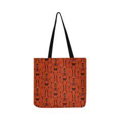 Black & Orange Skeletons Reusable Shopping Bag Model 1660 (Two sides) Reusable Shopping Bags, Reusable Tote Bags, Orange Background, Skeletons, Halloween Themes, Clutches, Models, Color, Black