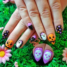 Super cute, pastel Halloween nail art! www.kawaiiklaws.com Halloween Nail Art, Hair Beauty, Super Cute, Polish, Pastel, Kawaii, Vitreous Enamel, Cake