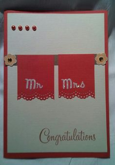 Wedding Congratulations Card and/or Anniversary Card (towels)