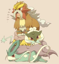 Chibi Dogs: Entei, Suicune, and Raikou. I CAN'T HANDLE... THERE'S SO MUCH CUTE <3