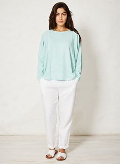 Spearmint stripey organic cotton top