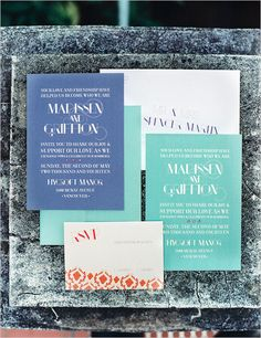 modern wedding invites   turquoise and blue stationery   classic garden wedding   #weddingchicks