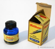 Antiguo tintero para estilográficas de la casa Pelikan. Azul real.