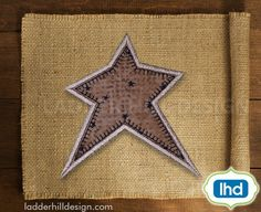 Primitive Embroidery - Primitive Star Applique - Primitive Star Applique Embroidery - Primitive Country Star Applique -- Primitive Applique -- Primitive Machine Embroidery Design -- Primitive Star Applique -- Primitive Country Applique Embroidery Design PRM003