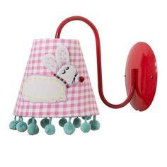 Kids Wall Lamp with Rabbit Applique and Pompom Edge - Rice A/S