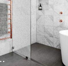 Bathroom Concrete Floor, Concrete Floors, Tile Floor, Home Reno, Bathroom Renovations, Toilet, Flooring, Reno Ideas, Wallpaper
