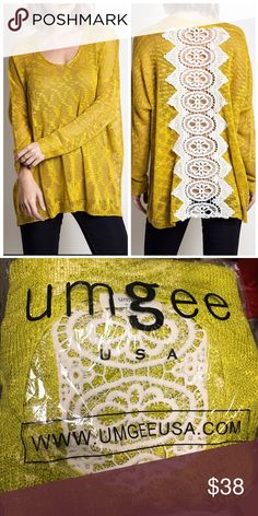 Umgee Lace Sweater S/M M/L New in package Umgee bright green sweater with lace back. umgee Sweaters Crew & Scoop Necks