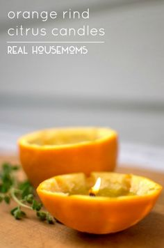 Orange Rind Citrus Candles | Real Housemoms Cleaners Homemade, Homemade Crafts, Homemade Candles, Fun Crafts To Do, Home Candles, Smell Good, Candle Making, Household Items, Healthy Eating