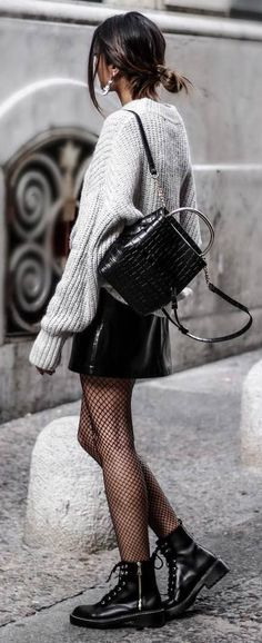 grange style obsession: knit + skirt + bag + boots