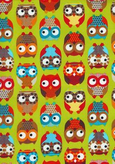 Owls on Lime fabric by Alice Kennedy for Timeless Treasures.