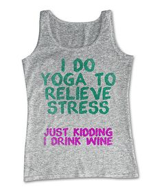 Athletic Gray Heather 'I Do Yoga' Tank #zulily #zulilyfinds