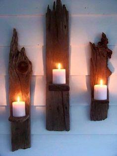 Driftwood Candle Wall Sconces - a great DIY! Driftwood Candle Holders, Wall Candle Holders, Candle Stands, Driftwood Crafts, Driftwood Ideas, Driftwood Shelf, Driftwood Furniture, Driftwood Beach, Creation Deco