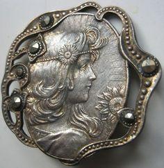 Vintage Art Nouveau, woman in silver, button. $60