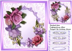 A lovely card with Beautiful Bee-Loop roses in a Gold Frame has three greeting tags and a blank one