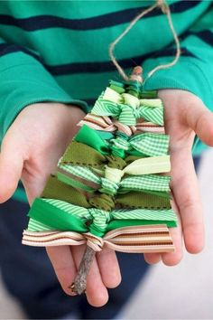 Scrap Ribbon Tree Ornaments are perfect for Christmas! Kids will enjoy using cinnamon sticks or twigs to create this easy DIY ornament for the holidays. Easy To Make Christmas Ornaments, Homemade Christmas Tree, Christmas Ornaments To Make, Christmas Crafts For Kids, Diy Christmas Gifts, Holiday Crafts, Easy Christmas Ornaments, Felt Christmas, Crafts