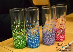 The Crafty Scientist: Confetti Shot Glasses Buy Target shot glasses and use a bamboo skewer to make dots.