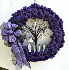 Halloween Wreath Halloween Purple Burlap by CountryCraftsnflower