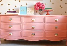 Dresser - 9 Drawer pink dresser with tab.  Ideal for kid's room as each drawer can be labelled.