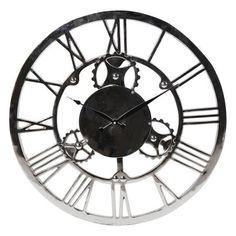 Large Distressed White Metal Clock Metal clock Clocks and White
